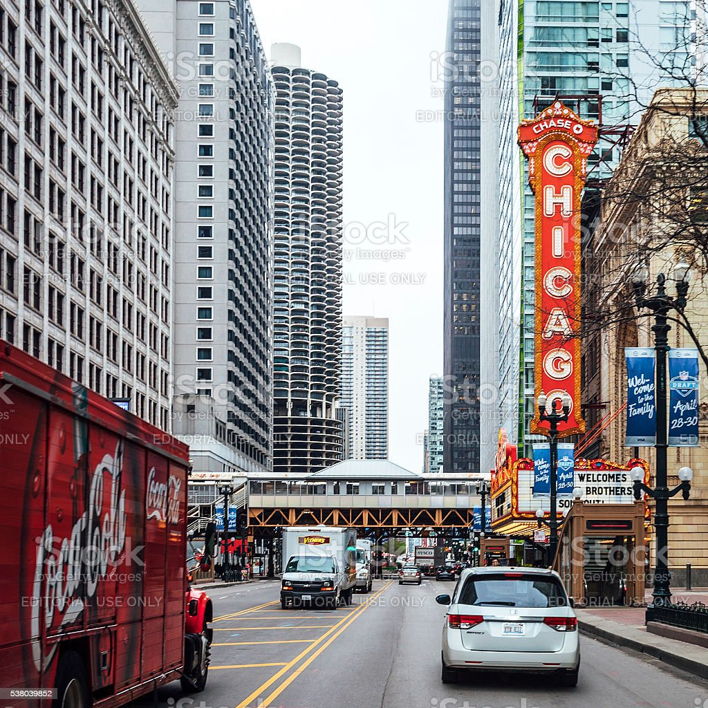 Streets of Chicago downtown. stock photo