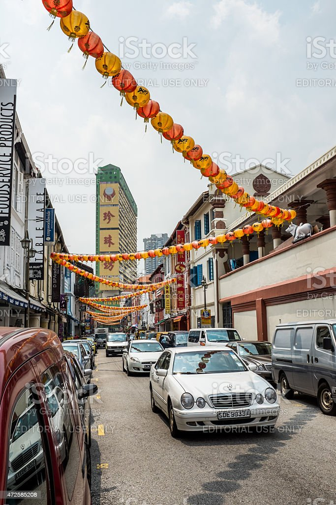 Streets of Chinatown in Singapore stock photo