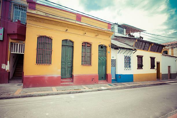 streets of colombia, bogota, houses in bogota stock photo