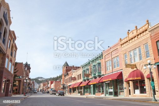 Deadwood, South Dakota, United States - March 9, 2012. The Main Street of historic Deadwood, South Dakota. The signs and buildings still reflect the era in which it's rich history was forged.