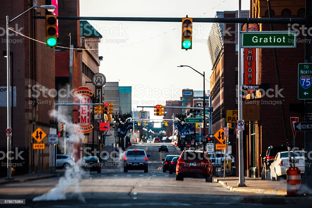 Streets of Detroit, Michigan. stock photo