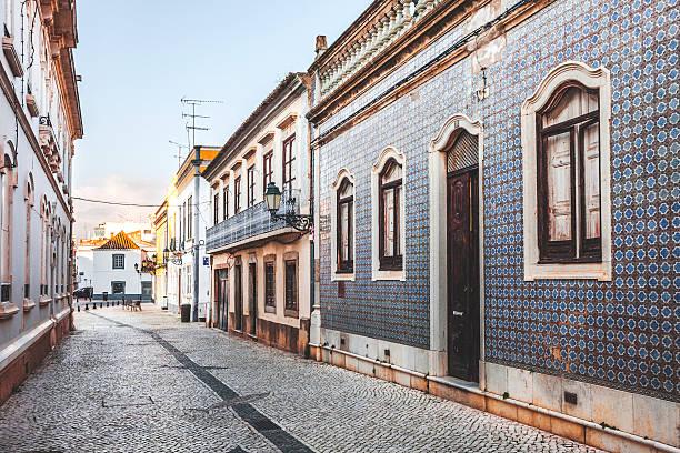 Streets of Faro, Algarve. stock photo