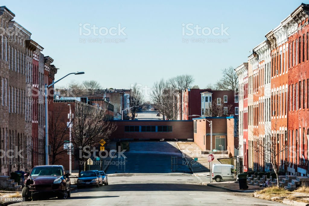 Streets of Harlem Park, Baltimore, MD stock photo