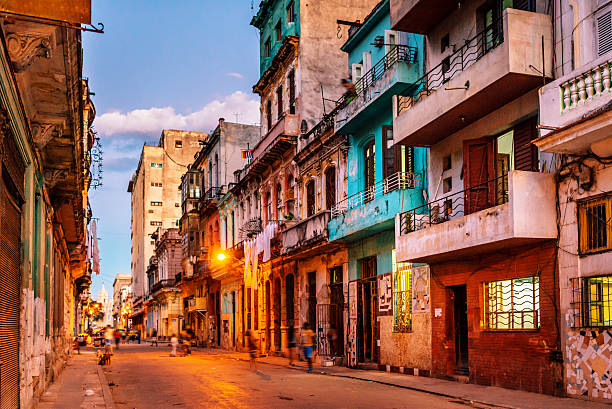 streets of havana, cuba at dusk stock photo