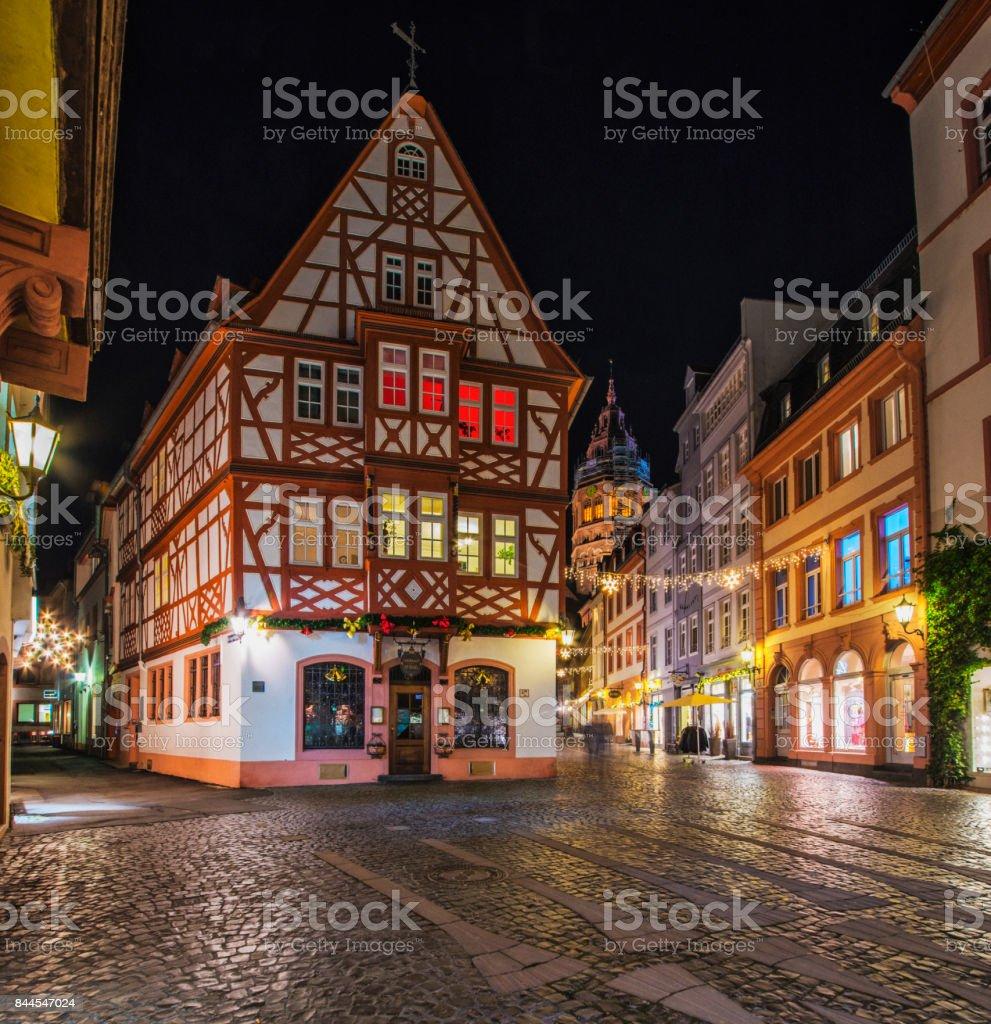 Streets of historic Mainz during Christmas season stock photo