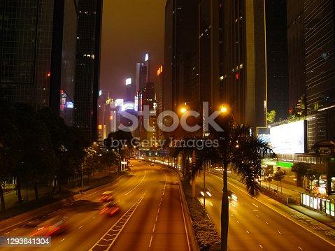 Hong Kong, China - June 14, 2019: Streets of Hong Kong night. Night lights of the city of Hong Kong.