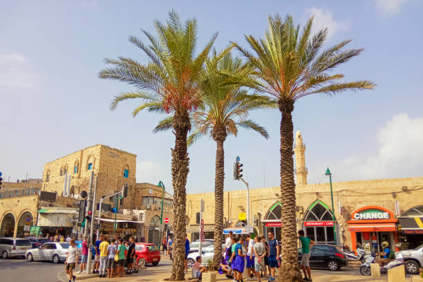 Streets of Jaffa with buildings, shops and people. Tel Aviv, Israel. stock photo