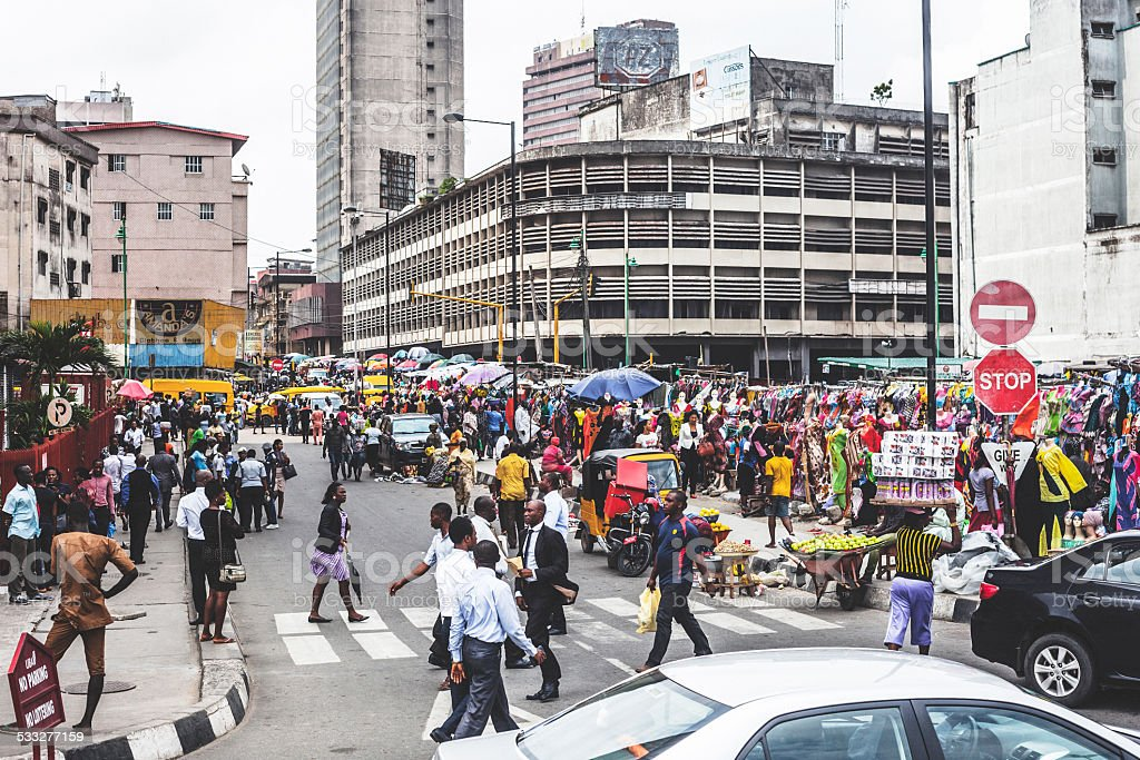 Streets of Lagos downtown. stock photo