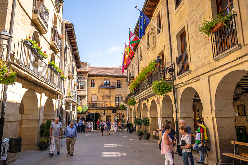 September 15, 2018 - Laguardia, Spain: Town hall of Laguardia, Rioja Alavesa province, Spain