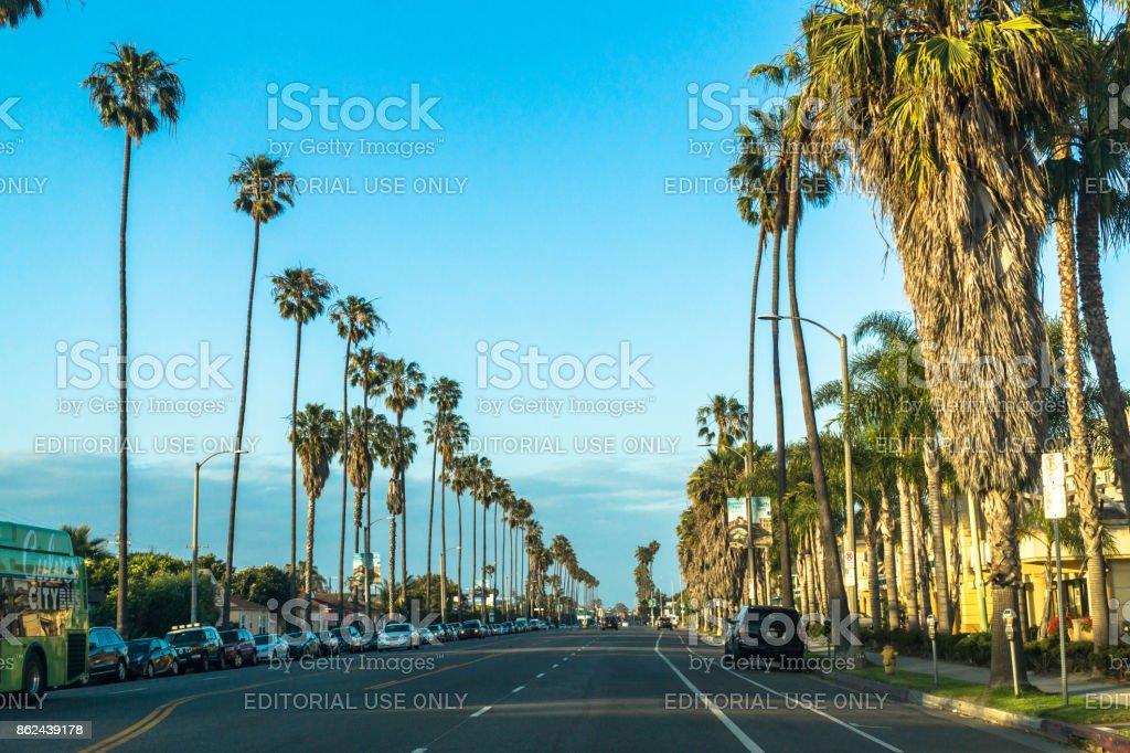 Streets of Los Angeles. Urban life in Santa Monica stock photo
