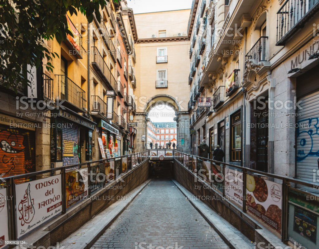 streets of Madrid lined with stores stock photo