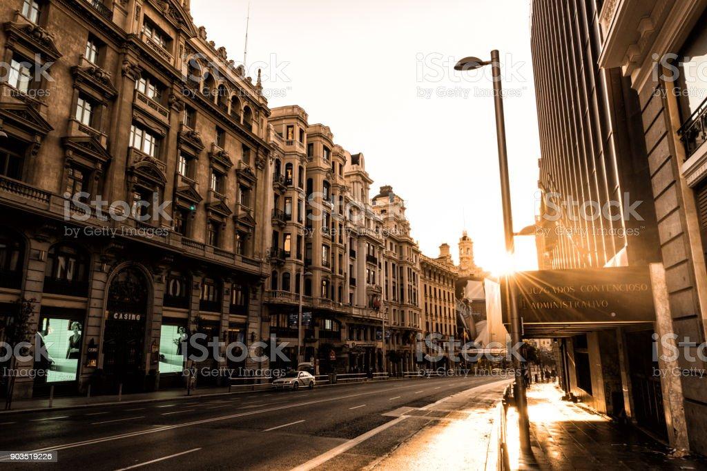 Streets of Madrid Spain at sunrise stock photo