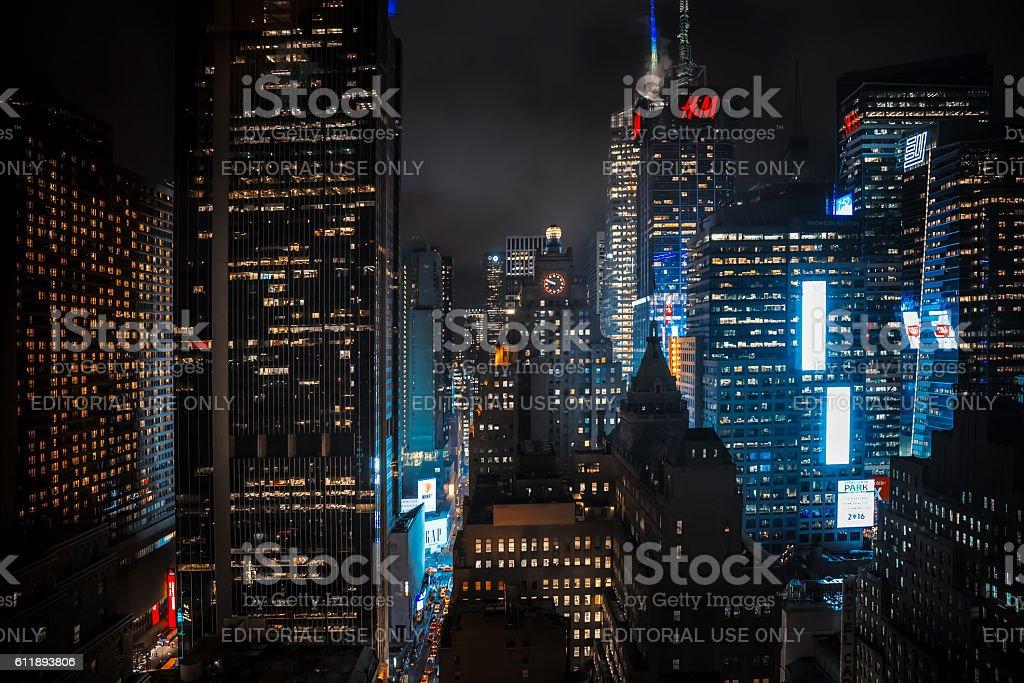 Streets of Manhattan at night stock photo