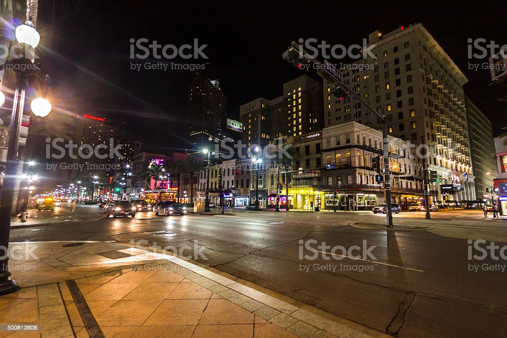 Streets of New Orleans at night stock photo