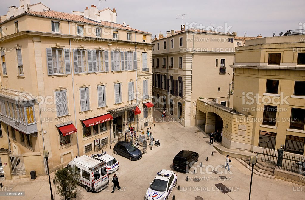 Streets of Nimes, France. View from Arena. stock photo