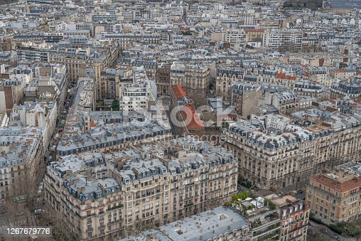istock streets of old Paris from above. 1267679776