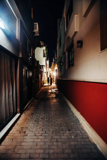 Streets of old town by night - Psirri, Athens, Greece stock photo