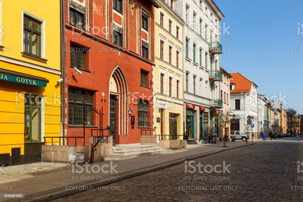 Streets of old town in Torun, Poland stock photo