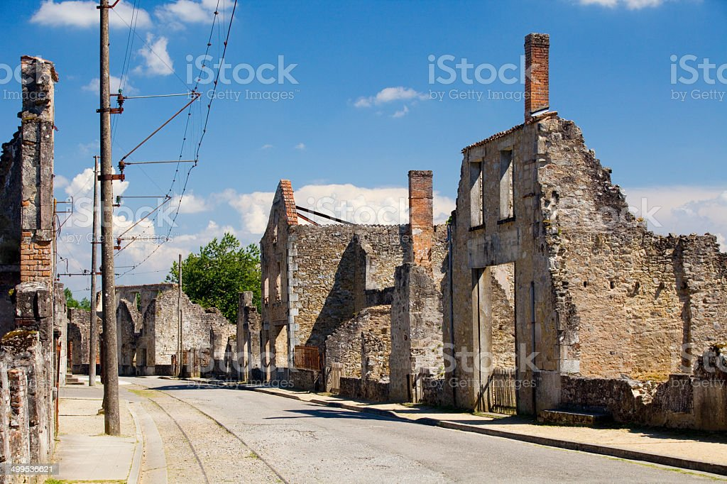 Streets of Oradour sur Glane stock photo