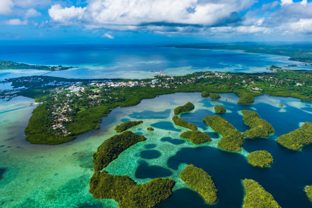 Streets of Palau Koror and coves of coral reefs stock photo