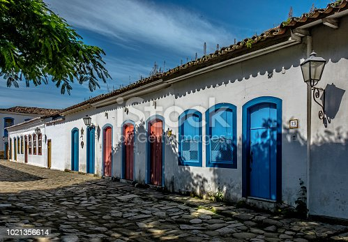 Streets of Paraty with its houses with colorful doors and windows, historical city in colonial style. Paraty - Parati, Rio de Janeiro, Brazil