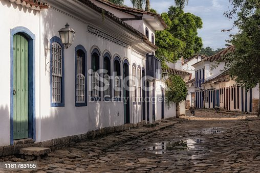 Streets of Paraty with its houses with colorful doors and windows, historical city in colonial style. Paraty - Parati, Rio de Janeiro, Brazil.   Since July 2019, Paraty is UNESCO World Heritage Site.