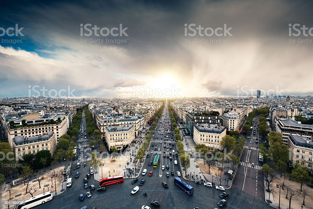 Streets Of Paris From Above stock photo