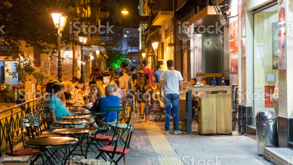 Streets Of Plaka At Night, Athens, Greece stock photo