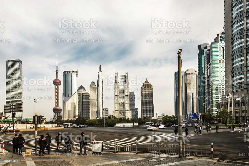 streets of pudong shanghai china royalty-free stock photo