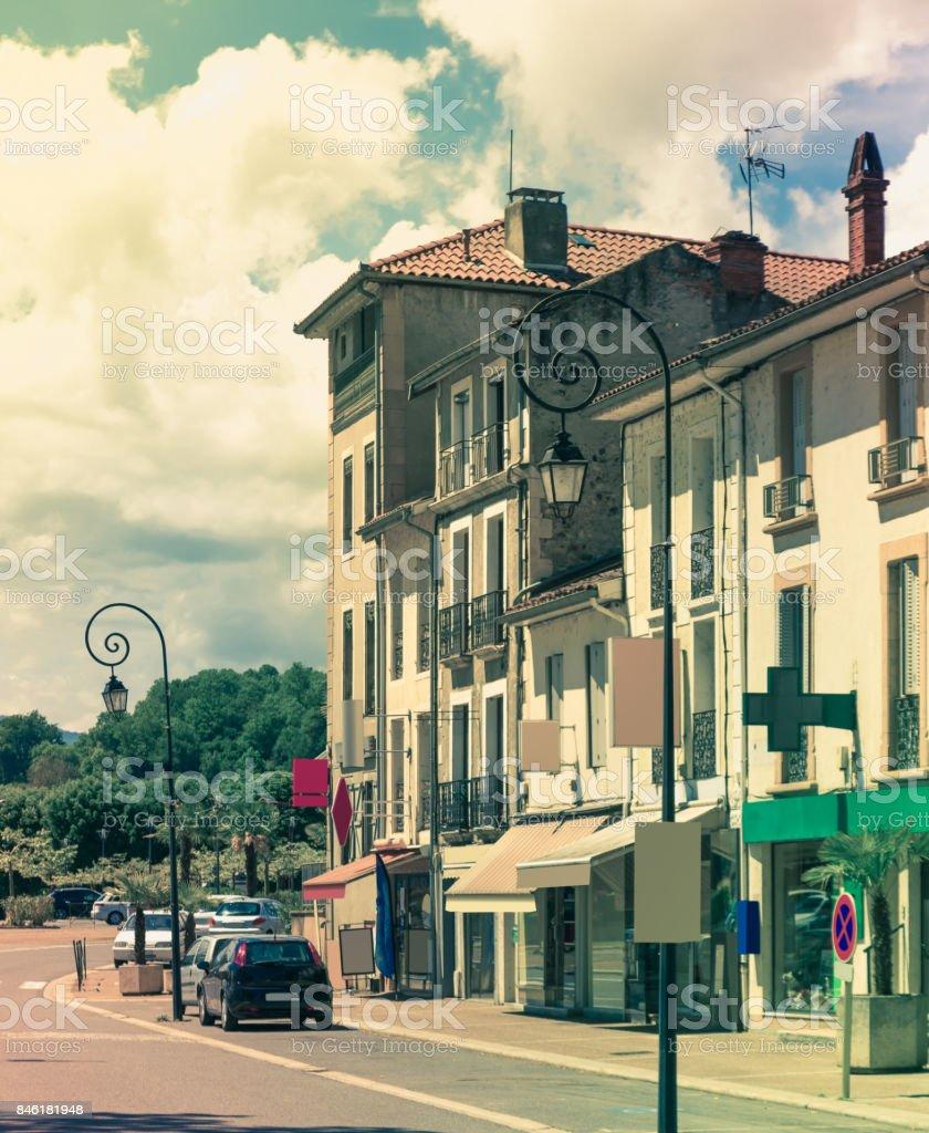Streets of Salies-du-Salat, France stock photo