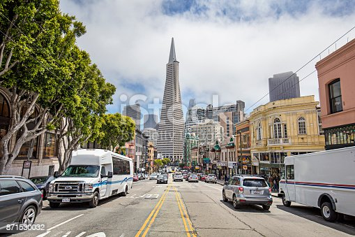 Traffic in the streets of San Francisco, California, USA.