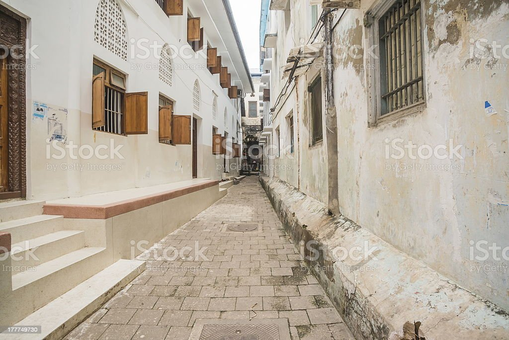 Streets of Stone town stock photo