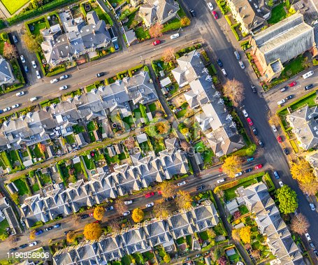 An autumn view from directly above a series of streets with terraced houses and gardens in Jordanhill, West Glasgow.