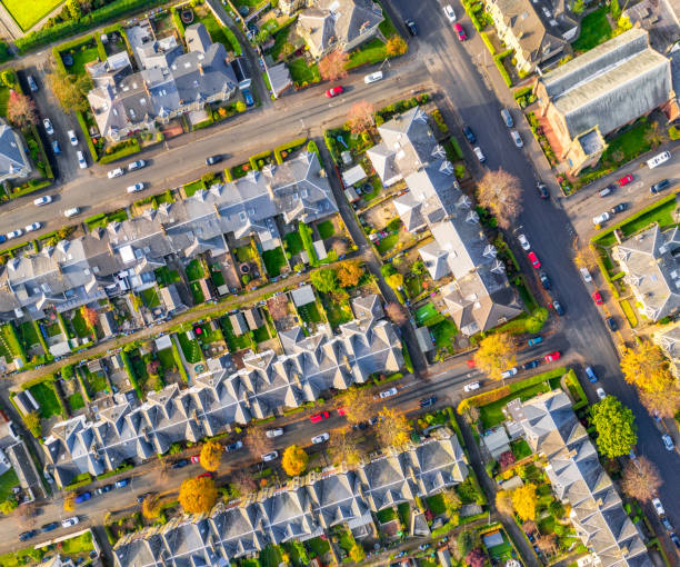 Streets of terraced houses from above stock photo