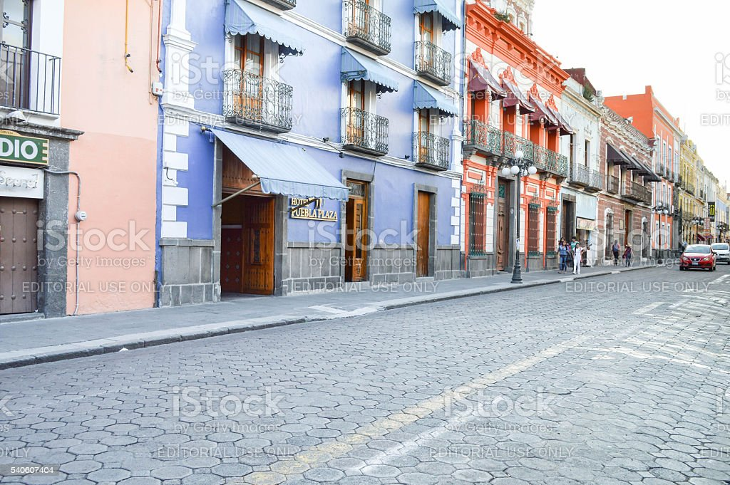 Streets of the historic center of Puebla, Mexico stock photo