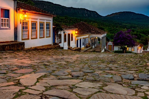 Streets of the old and historic city of Tiradentes at dusk stock photo