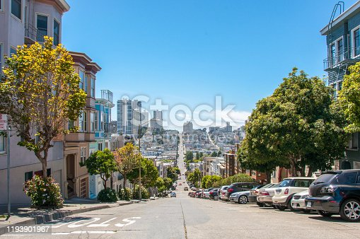 904795294 istock photo Streets with the slope in San Francisco, California, USA 1193901967