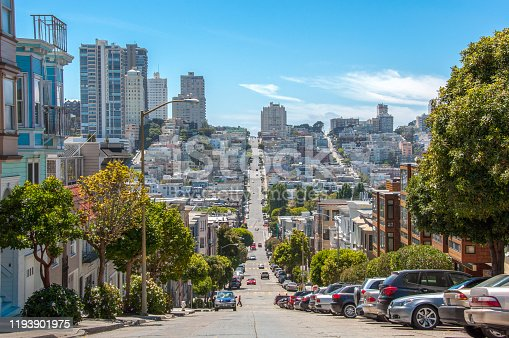 904795294 istock photo Streets with the slope in San Francisco, California, USA 1193901975