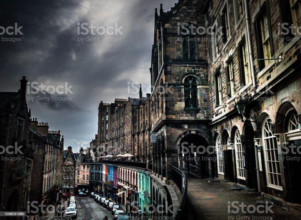 Streetscape of Victoria Street, Edinburgh stock photo