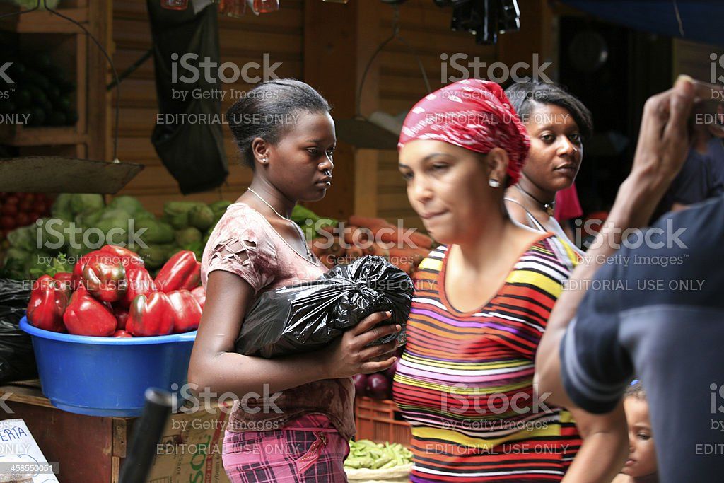 Streetscape on Market, Higuey City, Eastern Dominican Republic stock photo