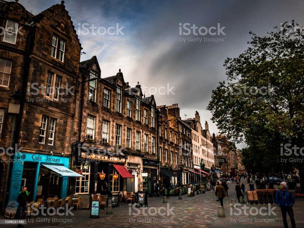 Streetscape view of Grassmarket Edinburgh Scotland stock photo