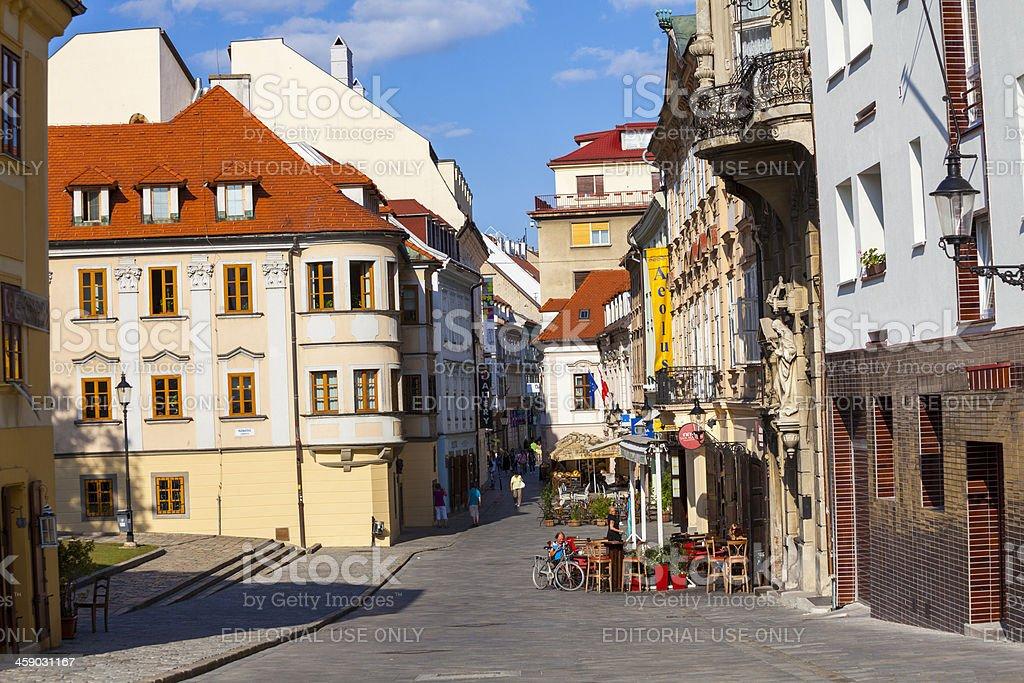 Streetside cafes and bars in Bratislava, Slovakia stock photo