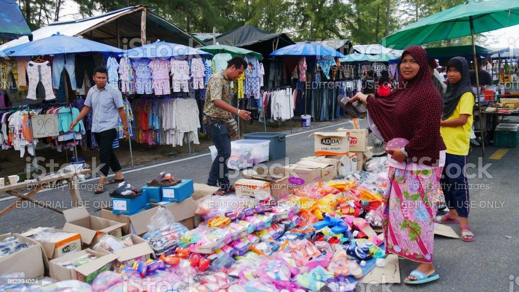 Streetside vendors in Narathiwat, Thailand stock photo
