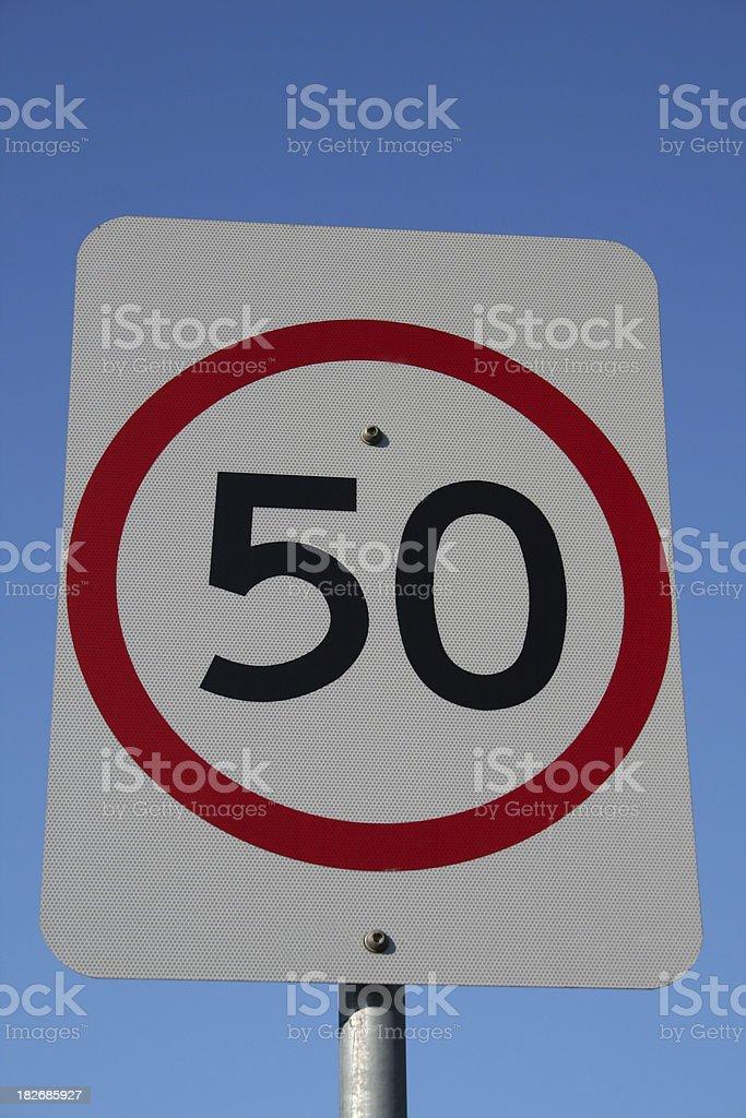 Streetsign: 50 Speed limit stock photo
