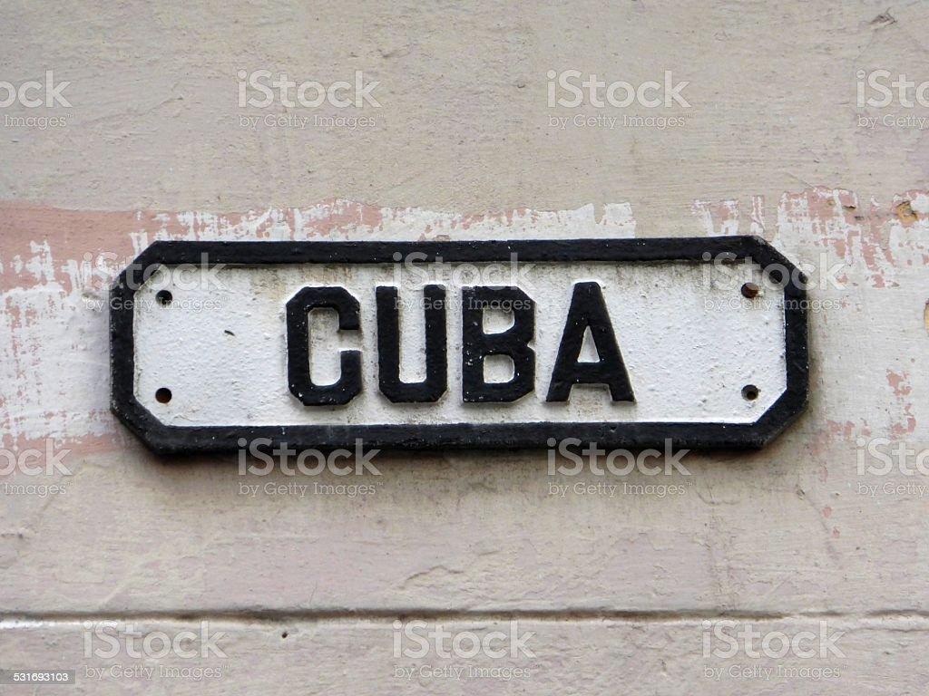 Streetsign at Old Havana in Cuba stock photo