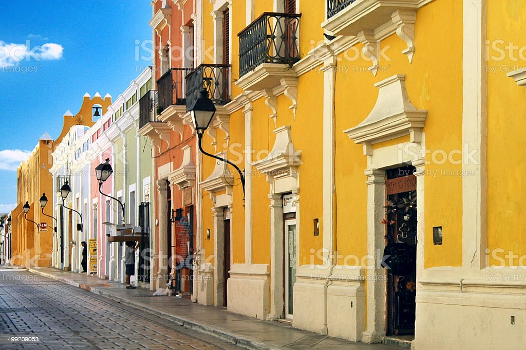 Streetview, Campeche, Yucatan, Mexico stock photo