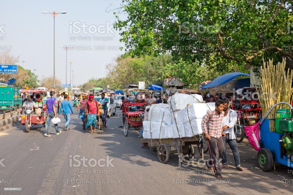 India, New Delhi - April 5, 2017: Streetview in New Dehli on the 5th of april 2017 royalty-free stock photo