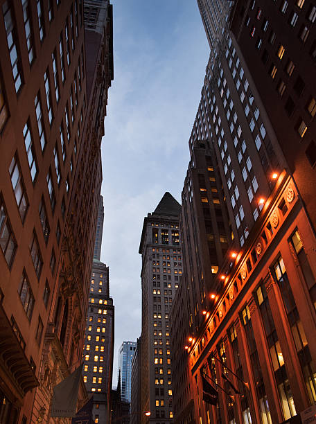 Streetview of the Financial District at night stock photo