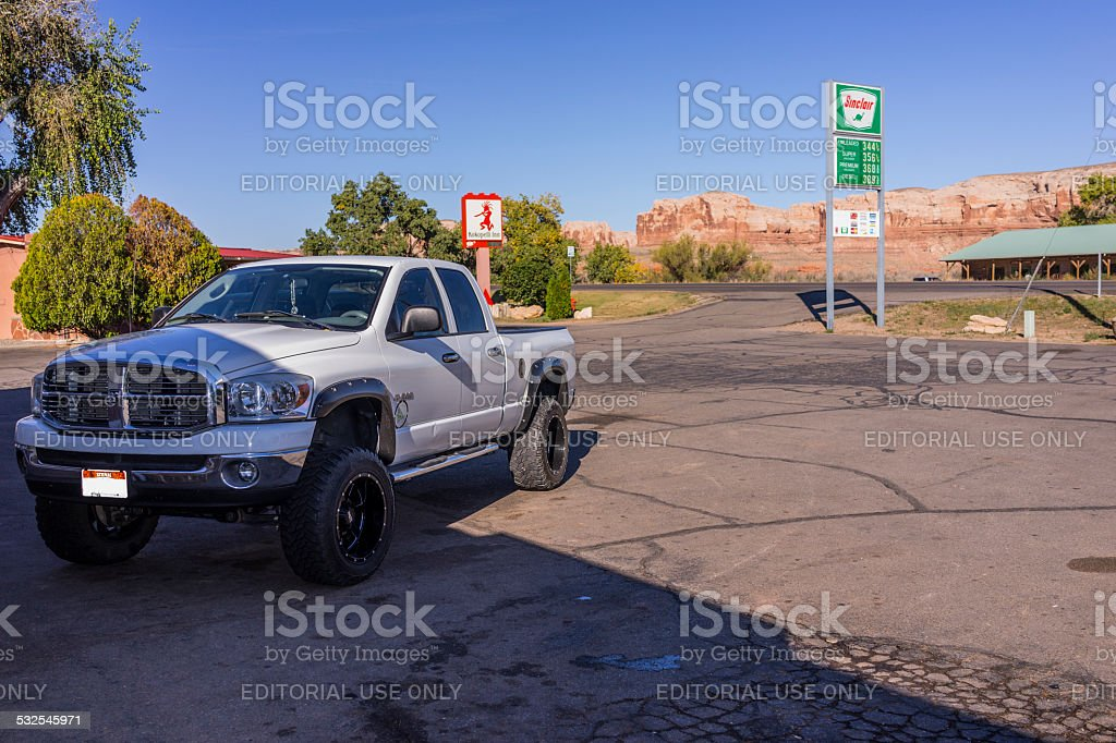 Streetview with car in Bluff, Utah stock photo