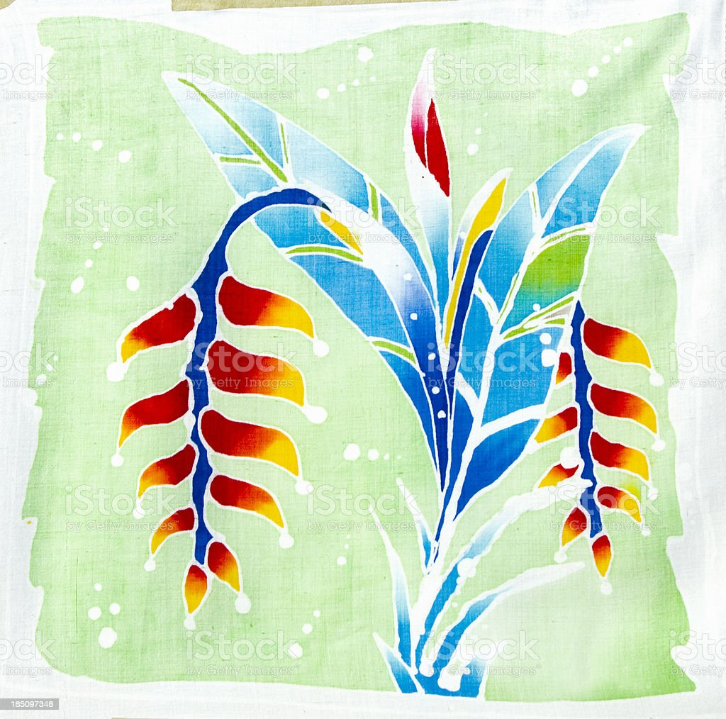 Strelitzia, Papageienblume batik handpainted royalty-free stock photo